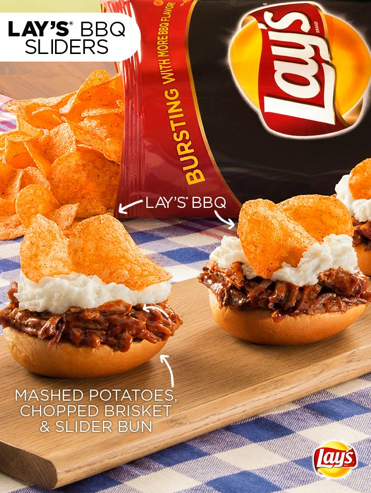 LAY's BBQ Sliders: This is the perfect app hack for the 4th of July. Ingredients:  Lay's BBQ chips Precooked mashed potatoes  2 lbs. precooked chopped brisket  12 slider buns  Directions:  1) Heat chopped brisket and mashed potatoes as per instructions  2) Once cooked, place brisket on slider buns, leaving room  3) Top brisket with mashed potatoes and 2 Lay's Barbecue chips.  *Use chopped brisket instead of sliced (like shown in picture)
