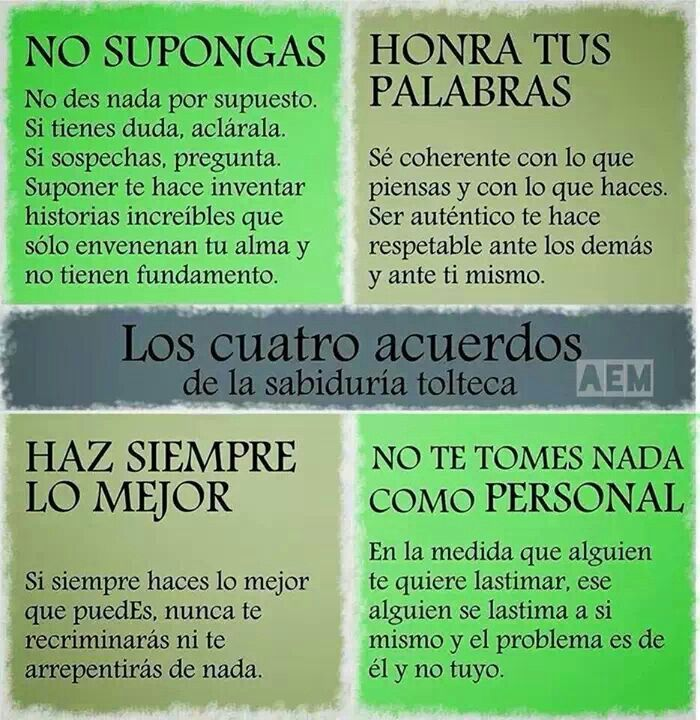 Los cuatro acuerdos de la sabidurìa Tolteca.