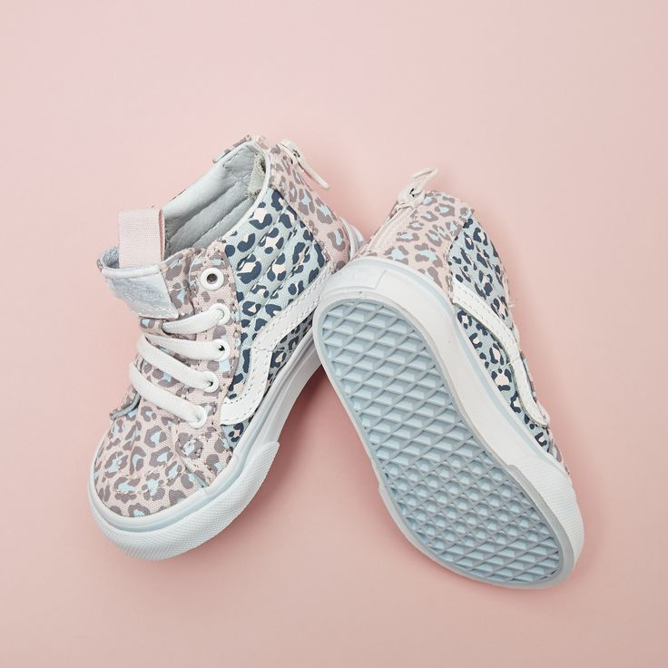 The perfect new SK8-Hi's for your little ones  The latest @vans_europe Sk8 Hi Zip Toddlers in Chalk Pink Baby Blue Leopard are where its at #liveyourbestlife #officelovesvans
