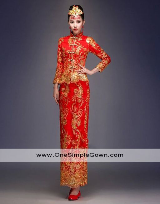 Chinese Traditional Style Red And Gold Dress