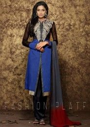 Blue And Black Chanderi Cotton Straight Suit With Heavy Embroidery