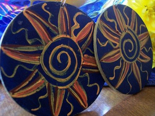 Sunburst Hand Painted Large Wooden Disc Earrings | 4DiasporaDesigns - Jewelry on ArtFire