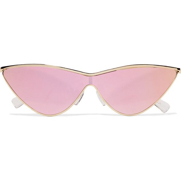 Le Specs + Adam Selman The Fugitive cat-eye gold-tone mirrored... ($100) ❤ liked on Polyvore featuring accessories, eyewear, sunglasses, gold, mirror glasses, uv protection glasses, cat eye sunnies, gold colored glasses and cat eye mirrored sunglasses