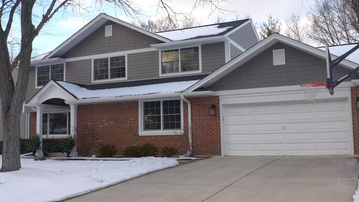 James Hardie Siding In Aged Pewter With Arctic White Trim