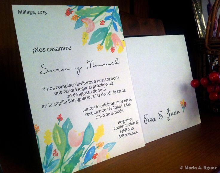 #Invitación #InivitacionDeBoda #Spring #DiseñoDeEstampados #Acuarela #Dibujo #Flores #Primavera #Watercolors