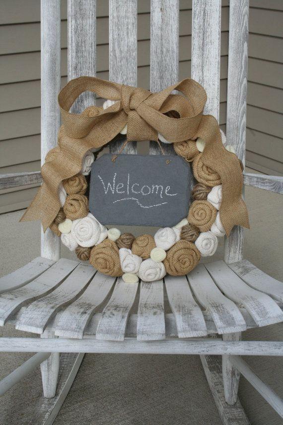 Jute Yarn Wreath/Chalkboard/Everyday/Burlap Flowers/Roses/Felt Rosettes on Etsy, $60.68 CAD