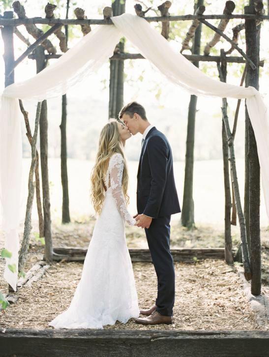 Bruidsjurk romantisch Boho model van mooi kant & lange mouw