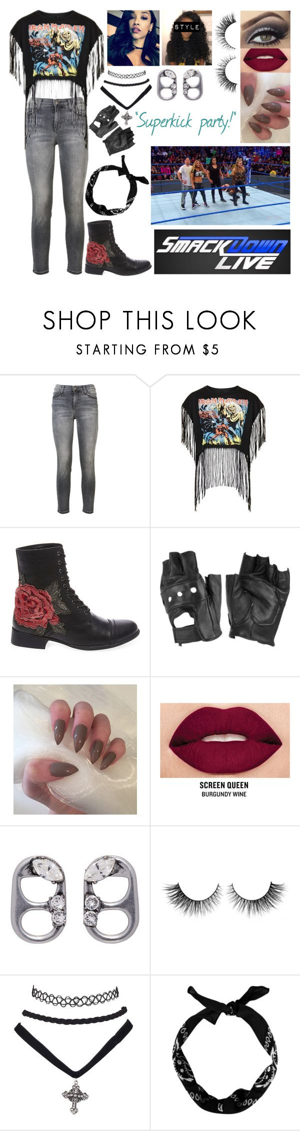 """""""superkick 🤘🏼 xia 🤘🏼"""" by lostboyys ❤ liked on Polyvore featuring Current/Elliott, Topshop, Steve Madden, Charlotte Russe, Smashbox, Marc Jacobs, Rimini, WWE and New Look"""