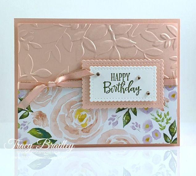 """Stampin Up Card Kit Set Of 4 /""""Birthday Wishes"""" Gold Embossed Rose"""