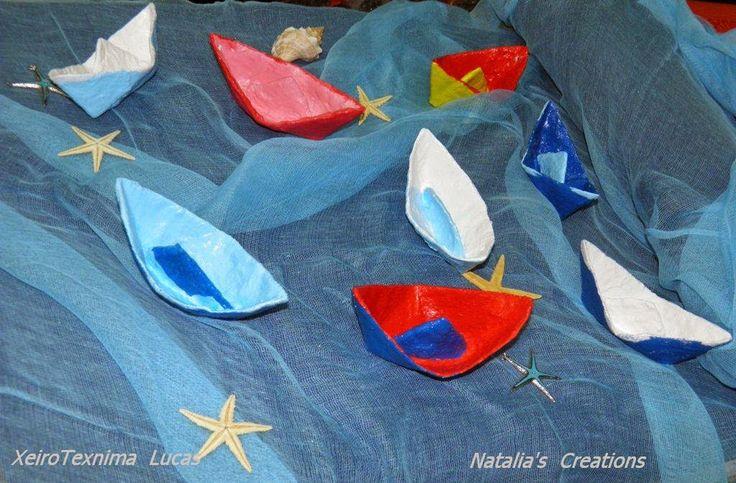 Ναταλία - Χειροποίητες Κατασκευές: Πολύχρωμες βαρκούλες από γυψόγαζα