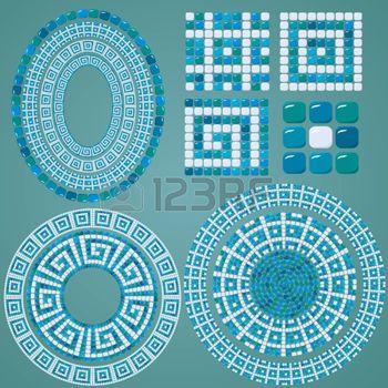mäander: Set von Mosaik-Muster - Blau Keramik ovale und runde Rahmen - klassische geometrische Ornamente
