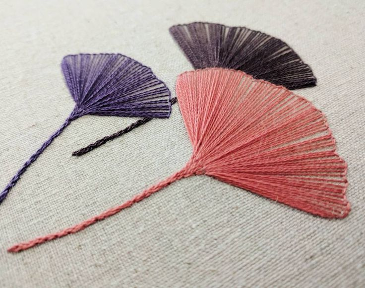 """137 Likes, 4 Comments - Sewjenaissance (@sewjenaissance) on Instagram: """"Gingko leaves in New DMC colors-09, 21, & 29. . . . #embroidery #stitching #handembroidery…"""""""