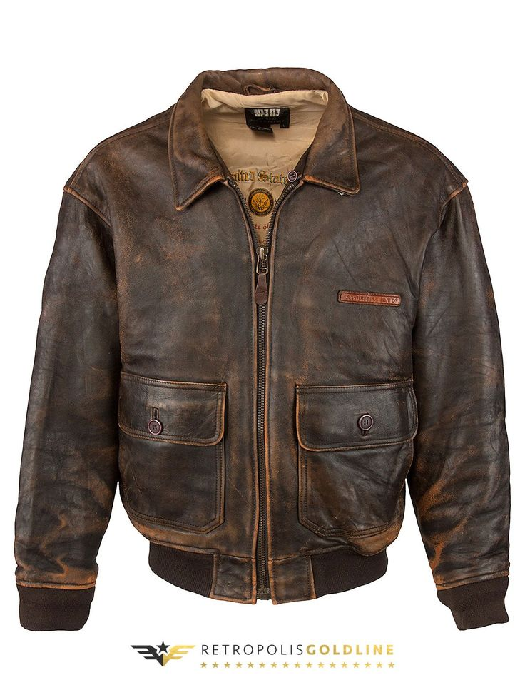 Vintage Avirex Vintage Aviator Jacket - XL, Regular Fit, size XL. Colour Dark Brown and made from 100% Cowhide Leather with Graphic Lining and and Front Zip fastening.