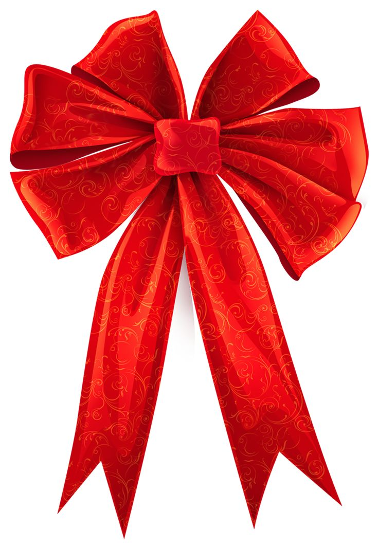 Red Bow with Ornaments Decor PNG Clipart