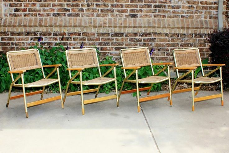 Vintage Set of 4 Telescope Wicker Rattan Outdoor Folding Chairs - Mid Century