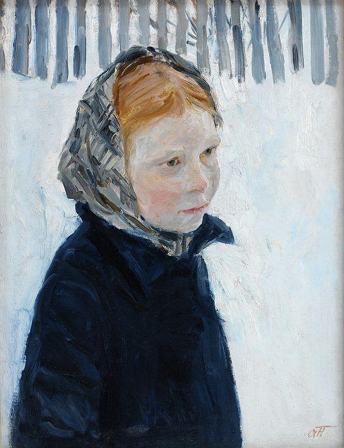 Plastov, Arkadi Aleksandrovich - Girl in Winter, 1950, oil on canvas | Springville Museum of Art