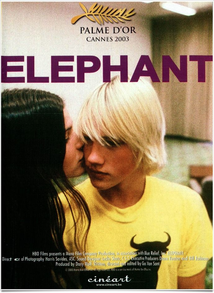 Elephant by Gus Van Sant - the format of the movie is great. How it was shot, the non linear and cyclic story. However it is a shame that Gus fell in every bit of troping he could. The killers were very smart but they played violent video games and the day of the shooting they had to watch Hitler (every bit of violence nowadays has to be linked to the Nazi) and they were obviously somehow homosexual which accounts for their bullying.