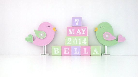 Bird wooden block set. Personalised Wooden Blocks make the perfect addition to any nursery. Place the wooden baby name blocks on a bookshelf, dresser or use them as a wooden toy. Custom baby blocks also make a wonderful new baby gift that can double as a baby photo prop. Wooden baby name blocks can be custom coloured to match you nursery decor.  * Two options available 1. Wooden Name and wooden shapes. 2. Wooden Name, DOB and wooden shapes.  Every block is hand made and painted. Your childs…