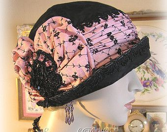 Antique Style 1920s Gatsby French Flapper Art Deco Cloche - Black Silk Velvet - Pink Embroidered Silk - Pink Jewels - Parisian Style
