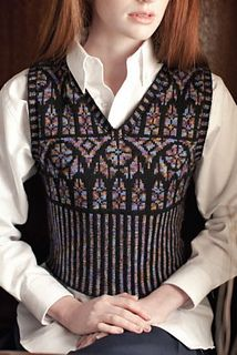 Tracery vest by Kathleen Sperling; The Unofficial Harry Potter Knits, Special Issue 2013