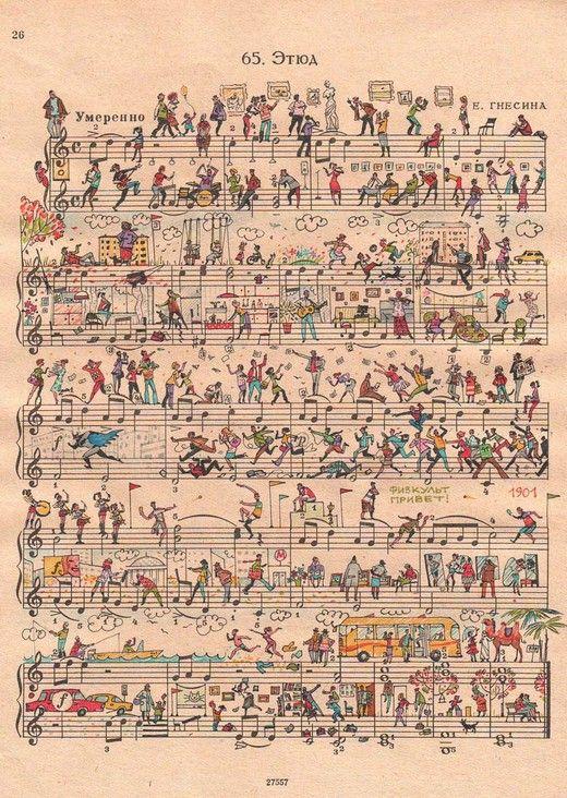 Whimsical Art | people too make fantastic whimsical art on sheet music