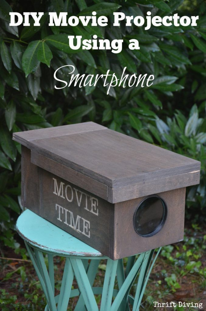 Using just a magnifying glass from The Dollar Tree, and some plywood, you can make a DIY Movie Projector using just your smartphone. Includes step-by-step instructions and tips for making it work properly! - Thrift Diving