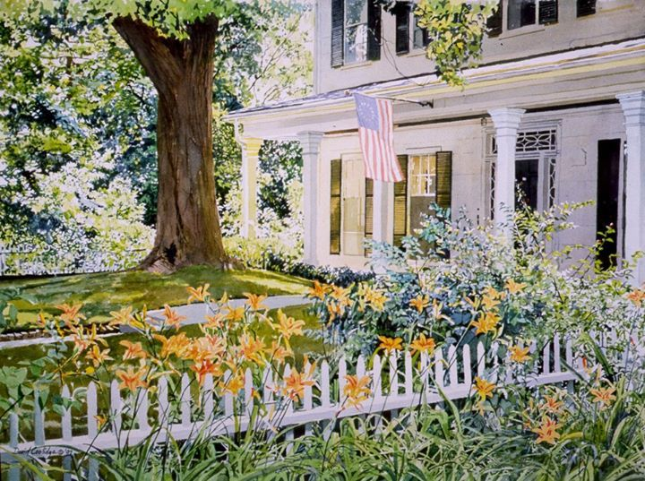 """David Coolidge watercolor - """"Fourth of July"""" (21"""" x 29"""")"""