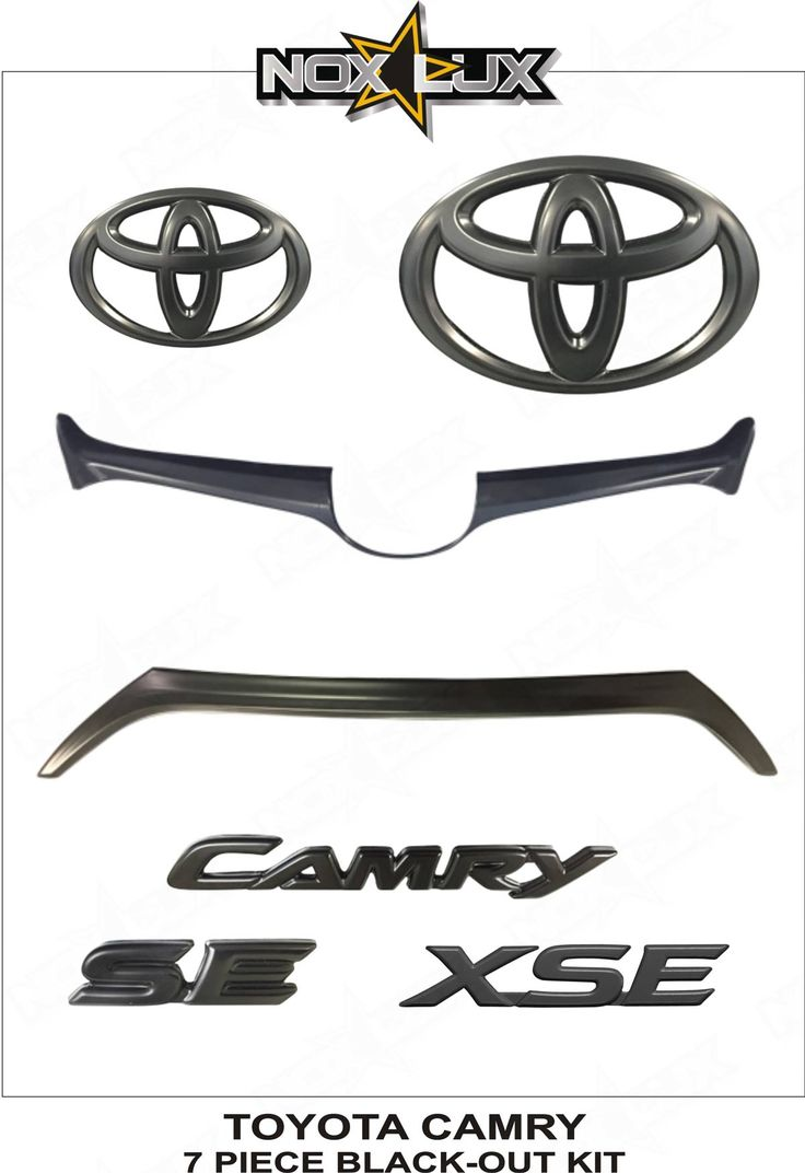 Nox Lux - 2015, 2016, 2017 Toyota Camry SE/XSE Emblem Gloss Black Out Overlay Badge Kit OEM - 7 Pieces - We Offer The Best In Automobile Accessories.
