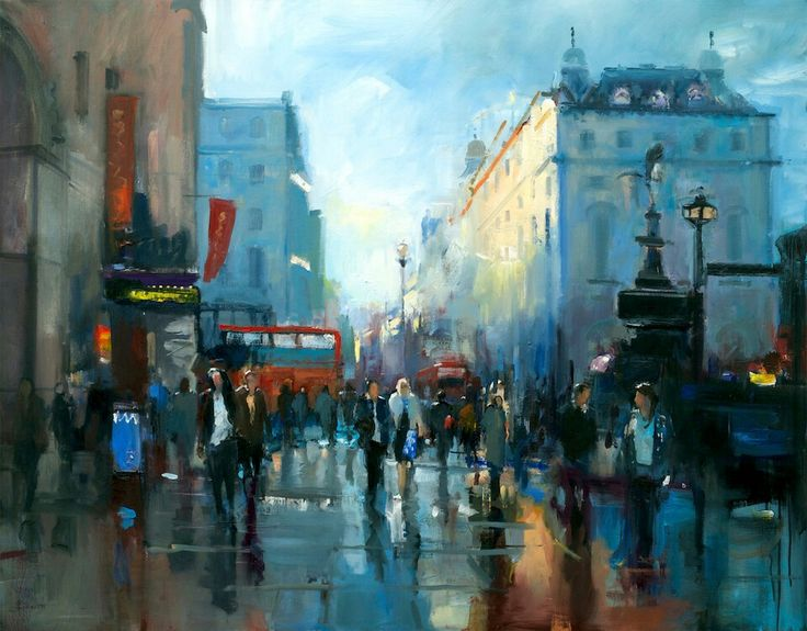 Just After Rain, Piccadilly, London by David Atkins