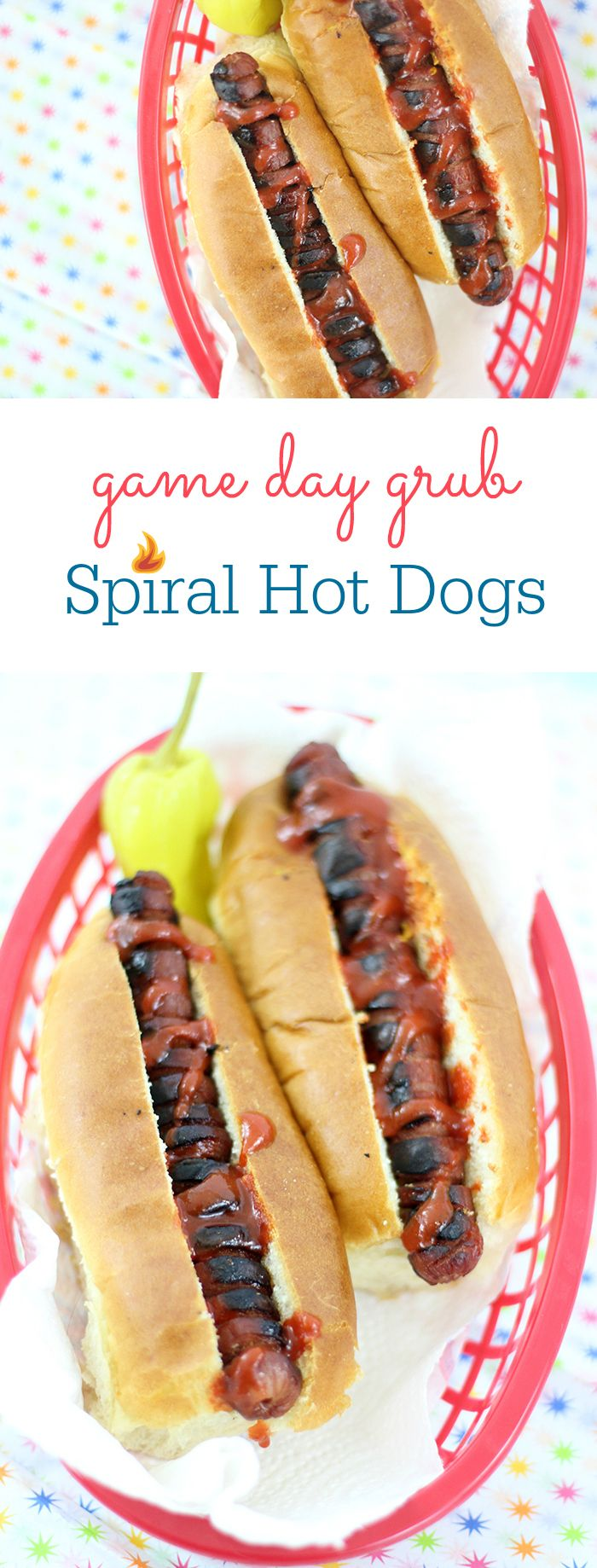 Spiral Hot Dogs. Easy way to get game day grub for your gatherings. Get ideas on how to show game day spirit at home. AD #CareForYourTurf