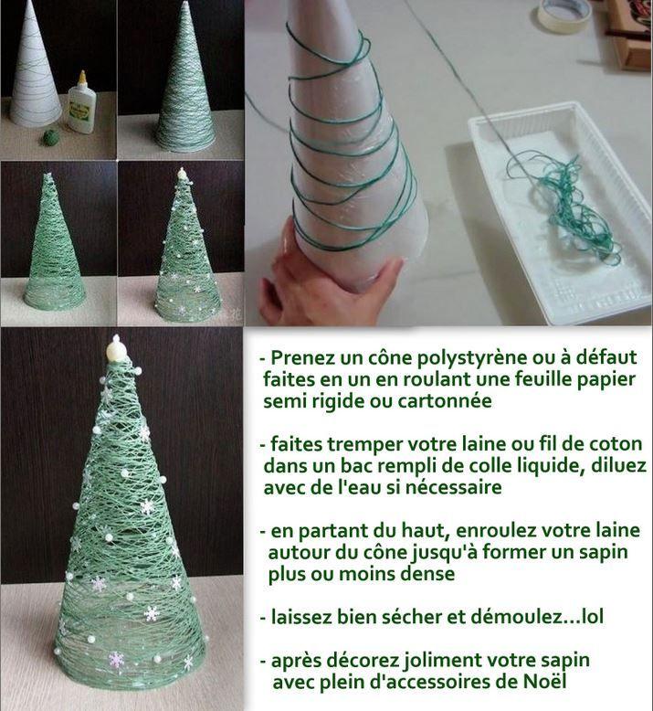 tutoriel sapin noel laine | Decoration noel, Deco noel, Sapin de noel