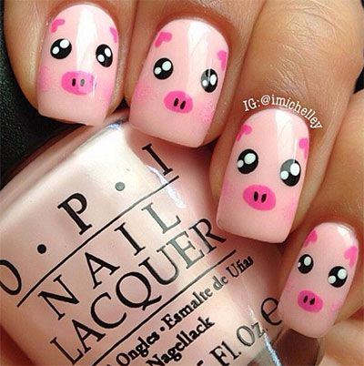 #toocute #pinkpiggies #nailartdesigns