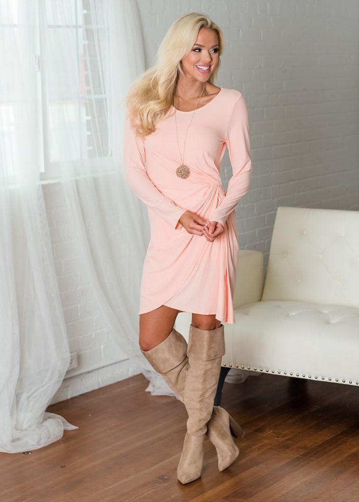 Ruffle Twist Dress Peach, Short Dress, Women's Boutique, Online Shopping, Fashion, Style,  Modern Vintage Boutique