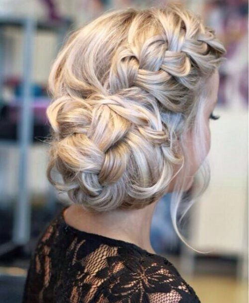 Cute Prom Updo Hairstyles 2015 Ideas: Elegant and easy braided updo 2015 with a side braid and braided fluffy side bun