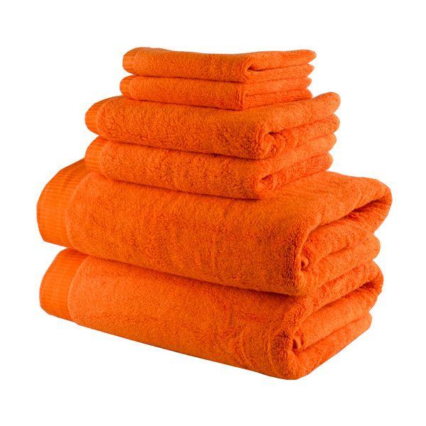 Lunasidus Orange Odessa Six-Piece Towel Set ($60) ❤ liked on Polyvore featuring home, bed & bath, bath, bath towels, 6 piece towel set, orange hand towels, ribbed bath towels, turkish cotton bath towels and orange towel set