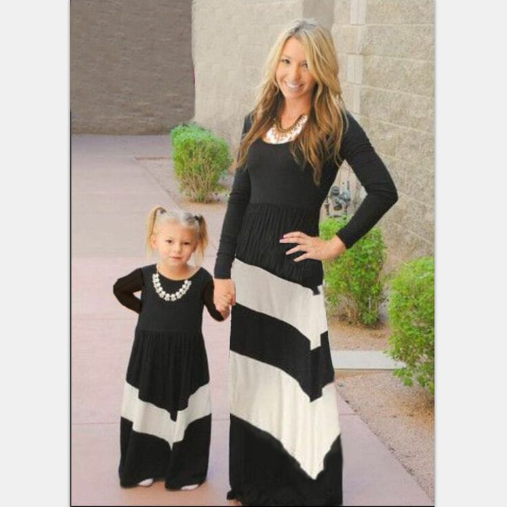 2017 Contrast Color Black and white stripes dress girl Kids and mother clothes Family Matching Outfits Mother daughter dresses