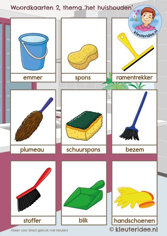 Woordkaarten 2 thema 'het huishouden', kleuteridee, free printable