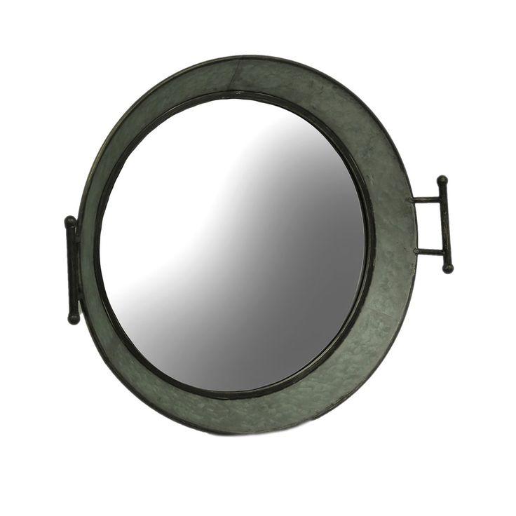 Galvanized Rustic Metal Wash Tub Wall Mirror - gray