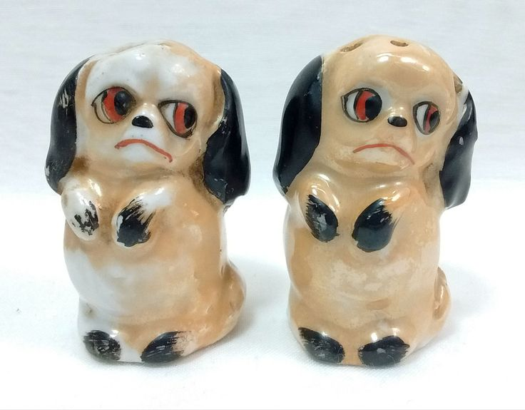 Vintage german lusterware sad pouting puppy dogs on hind legs novelty salt pepper shakers set by