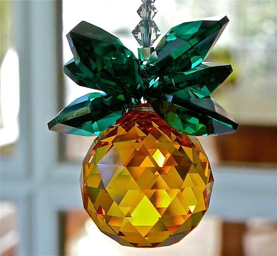 "Gold and Green Swarovski Crystal Pineapple Suncatcher, Rainbow Maker, Housewarming Gift of Hospitality, ""GINNY""  9 Inches Long on Etsy, $32.18 AUD"