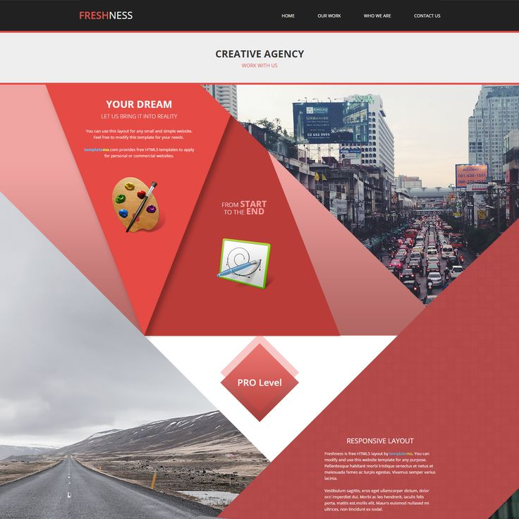 Freshness is Template Free HTML5 layout. It is responsive template with Bootstrap v3.1.1 framework. Design is based on red color diagonal shapes.