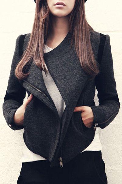 Color Block Zip-Up Wool Jacket DEEP GRAY: Jackets & Coats | ZAFUL