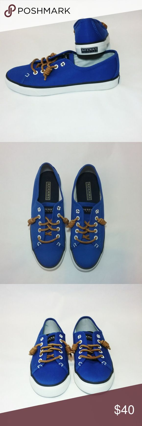 Blue Canvas Sperry Top-Sider Sneakers Size 7 1/2 Like new Sperry Top - Sider. These shoes are blue canvas, slip on style with leather laces. As you can see they are hardly worn and in excellent shape.   Condition: Like New Size: 7 1/2 Material: Canvas	  Inv F21 Sperry Shoes Sneakers