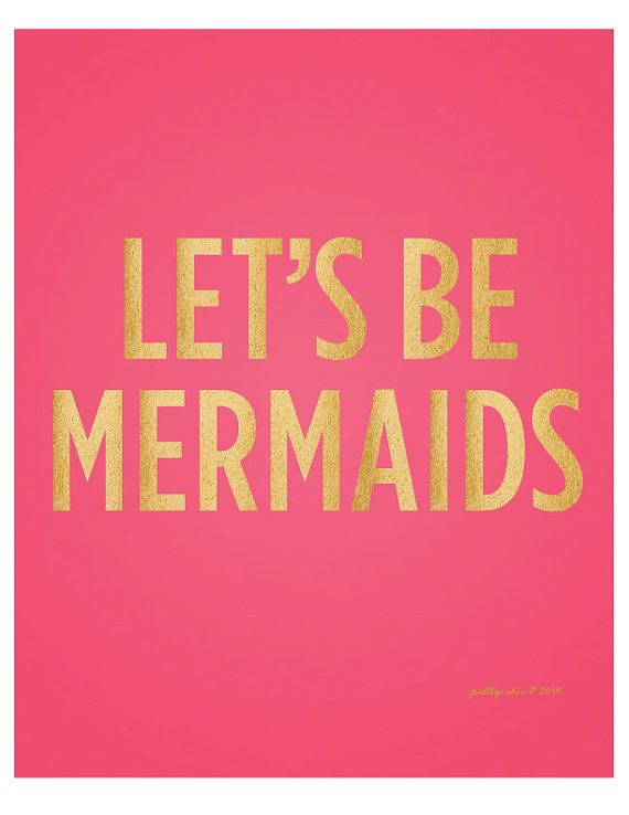 Let's Be Mermaids Art Print. Beach & Summer Wall Art. at Pretty Chic SF