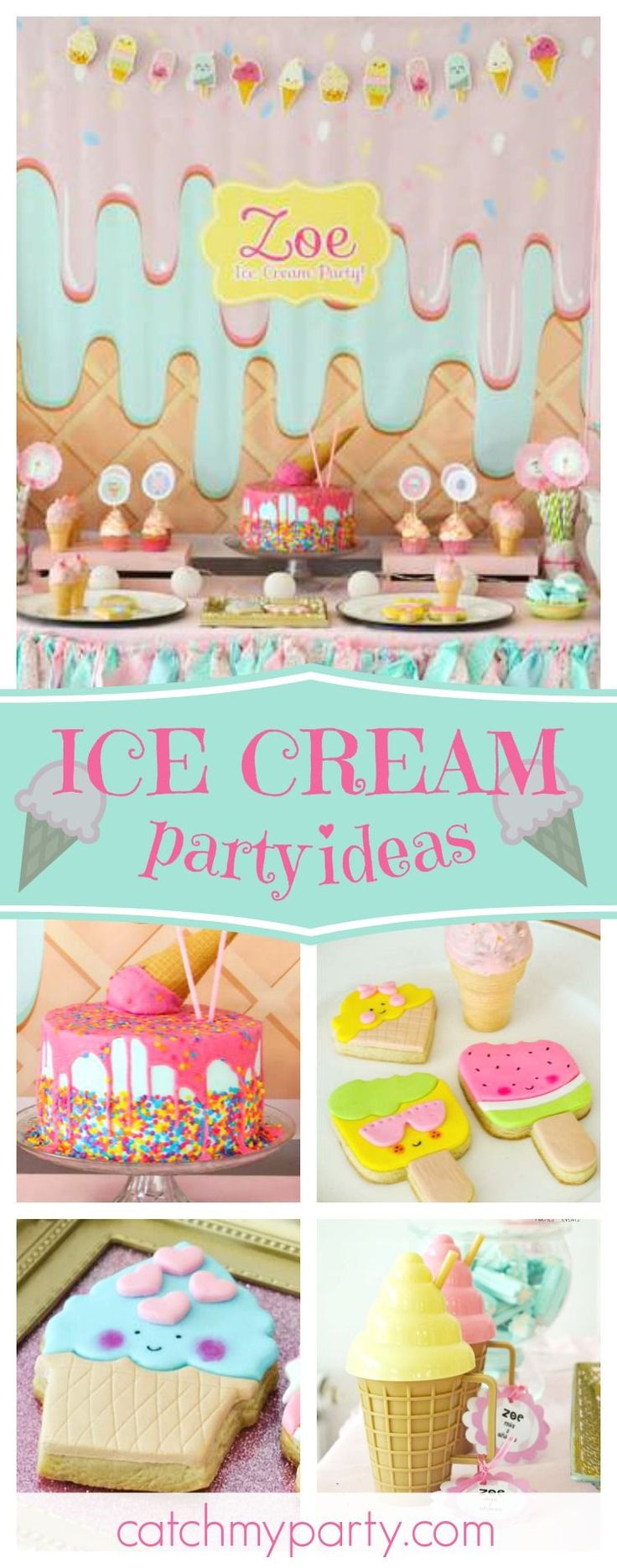 Take a look at this delicious ice cream birthday party! The birthday cake is amazing!! See more party ideas and share yours at CatchMyParty.com #catchmyparty #partyideas #icecream #girlbirthday