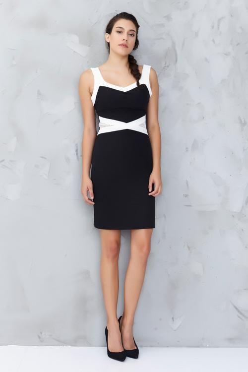 Siyah Beyaz Kalın Askılı Abiye Elbise - Fotoğraf