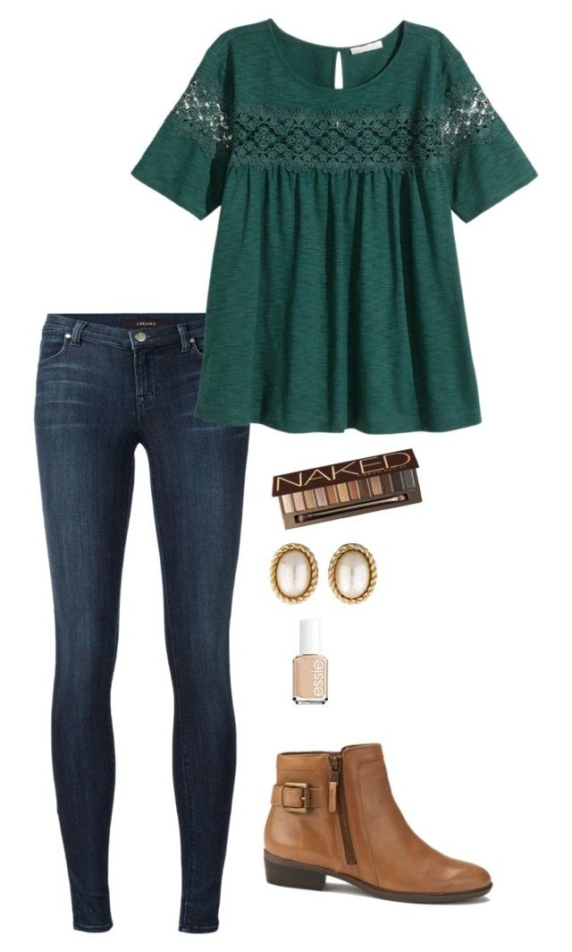 """Untitled"" by lizzie-mg on Polyvore featuring J Brand, H&M, Lauren Ralph Lauren, Urban Decay, Christian Dior and Essie"