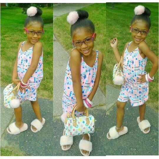 Little girl swag summer outfit furry flip flops Steve Madden Louis Vuitton handbag @LeilahDevine