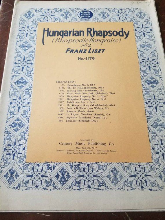 Hungarian Rhapsody No 2 Sheet Music Song Franz Liszt Etsy Sheet Music Songs Liszt