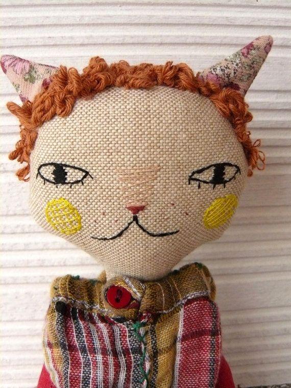 Bambola ringrosso lino / cotone con capelli di AntonAntonThings